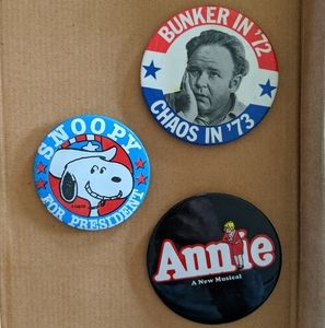 Vintage Annie, Archie Bunker, and Snoopy pins